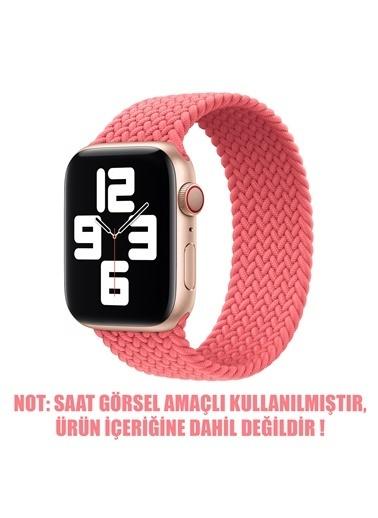 Microsonic Microsonic Apple Watch SE 44mm Kordon, Braided Solo Loop Band Kırmızı Pembe